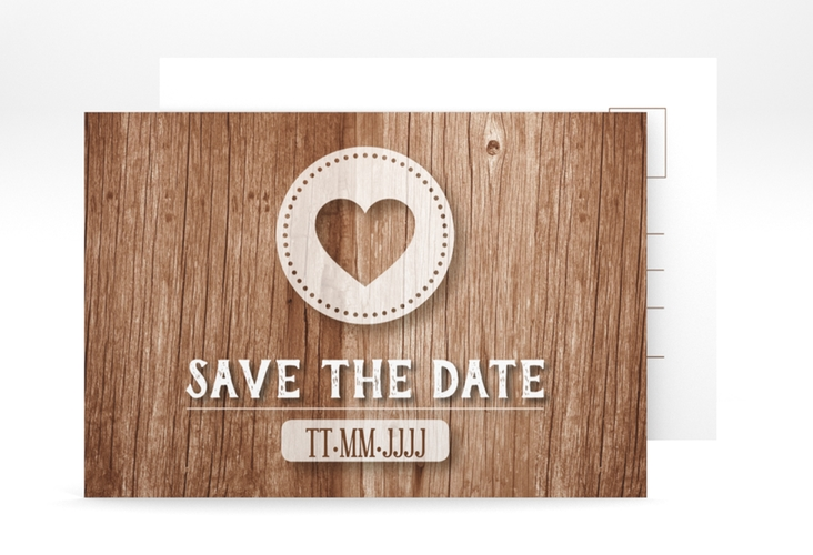 "Save the Date-Postkarte ""Flair"" A6 Postkarte braun"