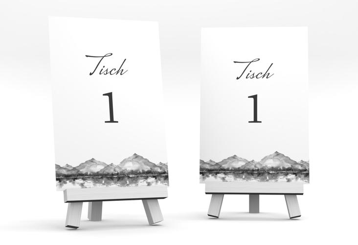 """Tischnummer Hochzeit """"Bergliebe"""" Tischaufsteller grau"""