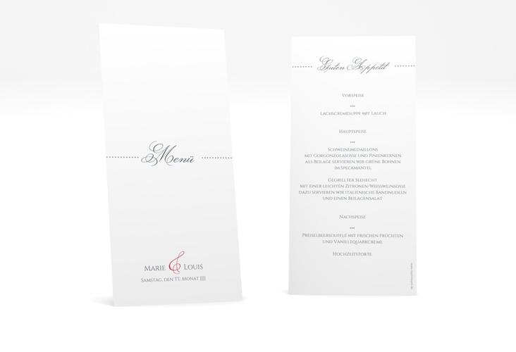 """Menükarte Hochzeit """"Pure"""" DIN lang hoch rot"""