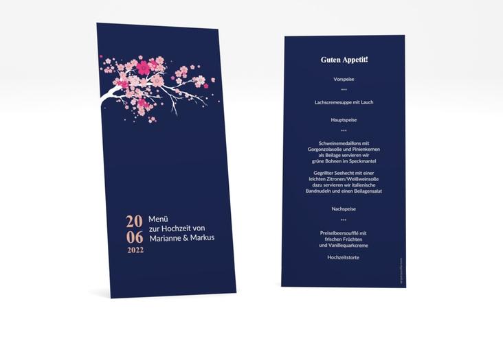 """Menükarte Hochzeit """"Sakura"""" DIN lang hoch blau"""