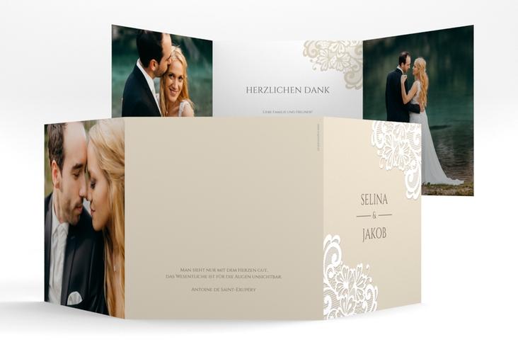 """Dankeskarte Hochzeit """"Vintage"""" Quadr. Karte doppelt"""