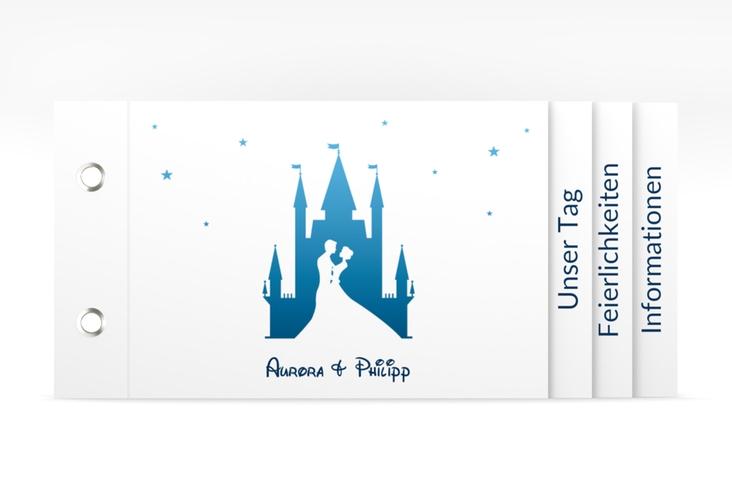 """Hochzeitseinladung """"Castle"""" Booklet blau"""