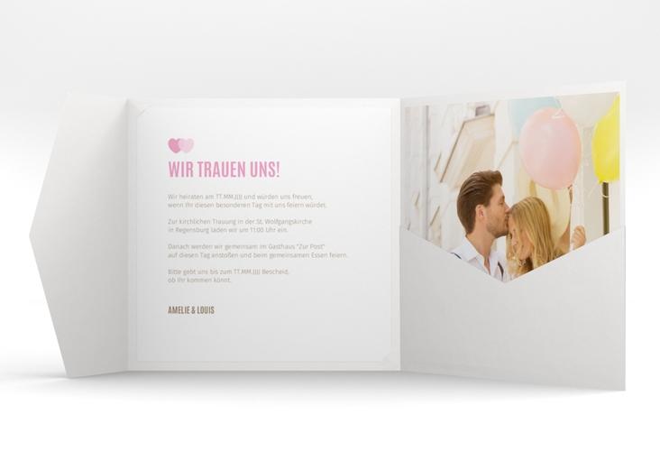 """Hochzeitseinladung """"Couple"""" Pocketfold rosa"""