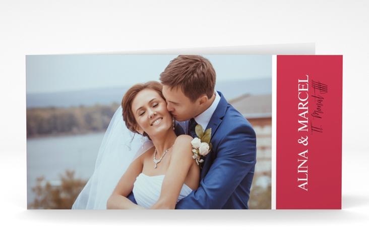 """Danksagungskarte Hochzeit """"Classic"""" DIN lang Klappkarte rot"""