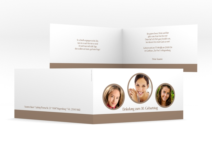 "Einladungskarte ""Anton/Antonia"" DIN lang Klappkarte braun"