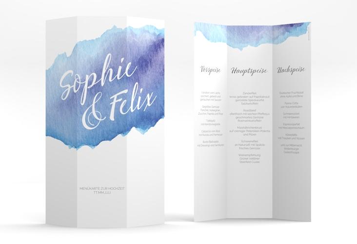 "Menükarte Hochzeit ""Aquarella"" DIN A4 Wickelfalz blau"