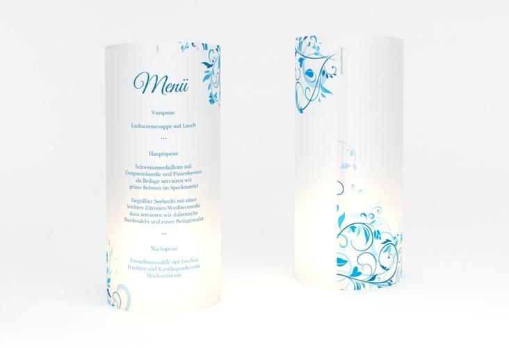 """Windlicht Menü Hochzeit """"Lilly"""" Windlicht blau"""