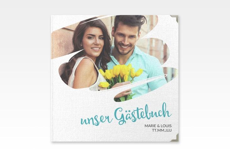"""Gästebuch Selection Hochzeit """"Felice"""" Leinen-Hardcover tuerkis"""