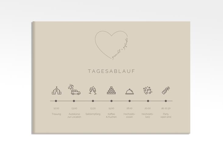 """Tagesablauf Leinwand Hochzeit """"Lebenstraum"""" 70 x 50 cm Leinwand beige"""