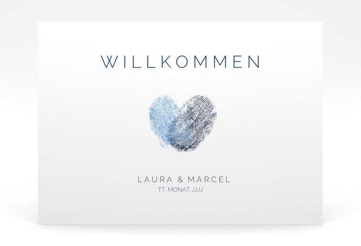 """Willkommensschild Poster """"Fingerprint"""" 70 x 50 cm Poster blau"""