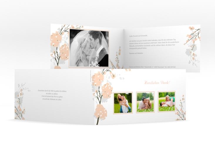 "Danksagungskarte Hochzeit ""Salerno"" DIN lang Klappkarte apricot"