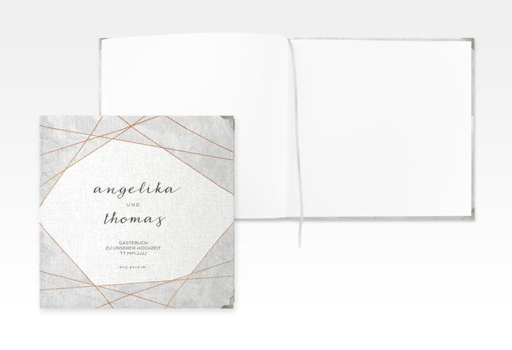 "Gästebuch Selection Hochzeit ""Asymmetry"" Leinen-Hardcover grau"