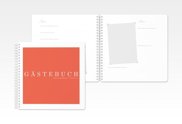 """Gästebuch Hochzeit """"Simply"""" Ringbindung orange"""