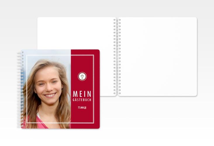 "Gästebuch Konfirmation ""Poculum"" Ringbindung rot"