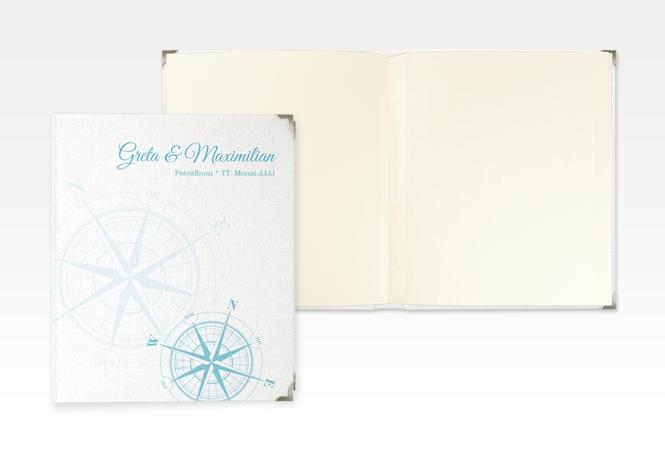 """Hochzeitsalbum """"Windrose"""" 21 x 25 cm tuerkis"""