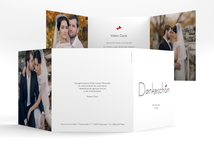 "Dankeskarte Hochzeit ""Twohearts"" Quadr. Karte doppelt rot"