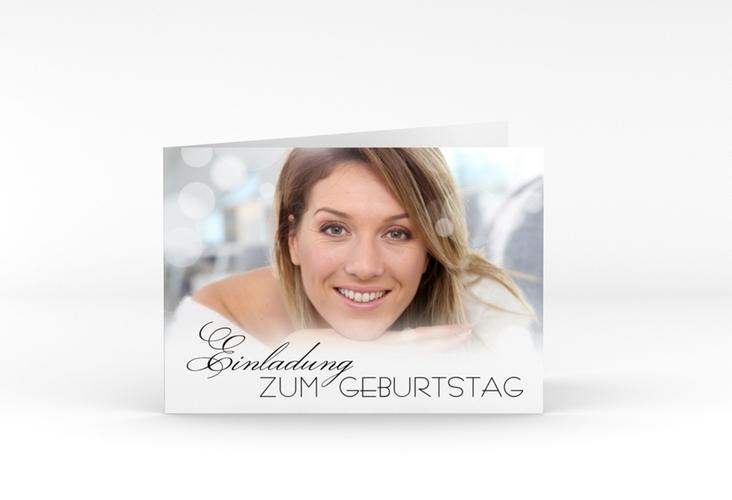 """Einladungskarte """"Luminous"""" A6 Klappkarte Quer schwarz"""