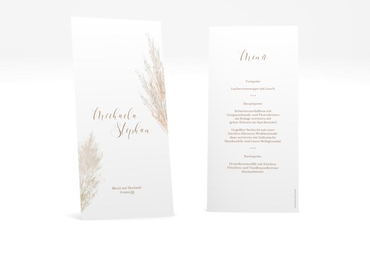 """Menükarte Hochzeit """"Pampasgras"""" DIN lang hoch"""