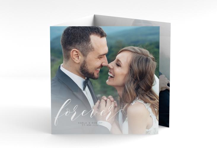 """Danksagungskarte Hochzeit """"Promise"""" Quadr. Karte doppelt weiss"""