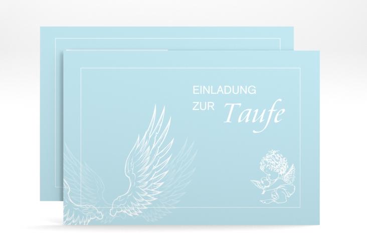 """Einladungskarte Taufe """"Angel"""" A6 quer blau"""