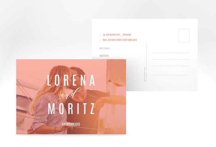 "Antwortkarte Hochzeit ""Memory"" A6 Postkarte orange"