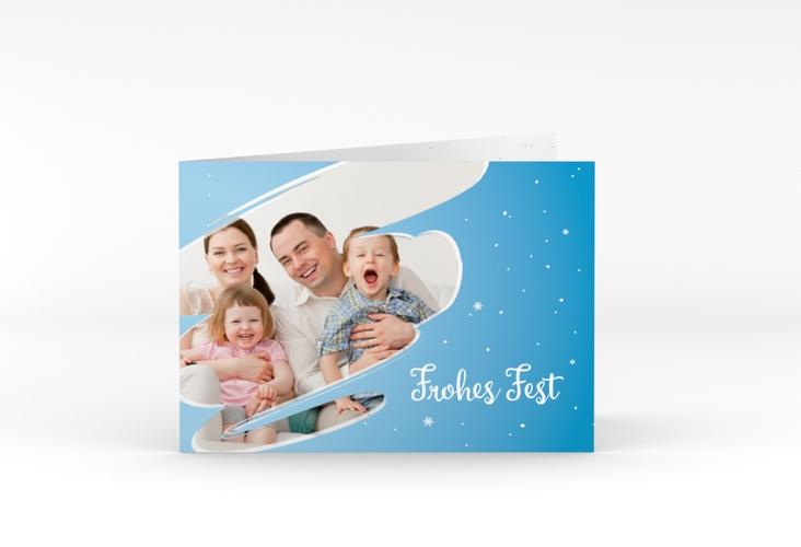 """Weihnachtskarte """"Ice"""" A6 Klappkarte Quer blau"""