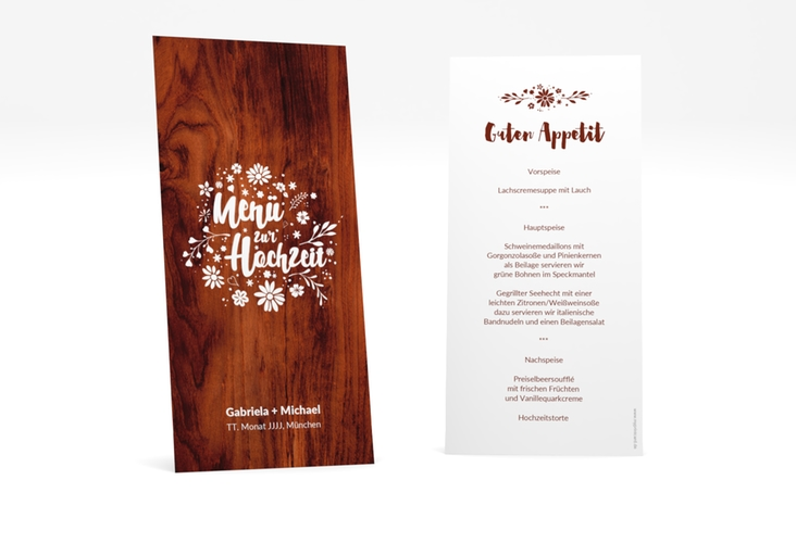 """Menükarte Hochzeit """"Buttercup"""" DIN lang hoch"""