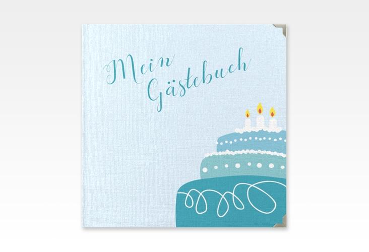 """Gästebuch Selection Geburtstag """"Cake"""" Leinen-Hardcover tuerkis"""
