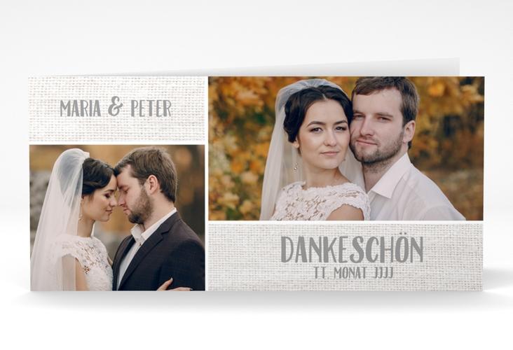 """Danksagung Hochzeit """"Landliebe"""" DIN lang Klappkarte weiss"""
