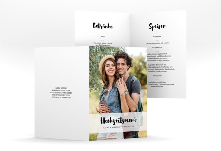 """Menükarte Hochzeit """"Mirage"""" DIN A5 geklappt weiss"""