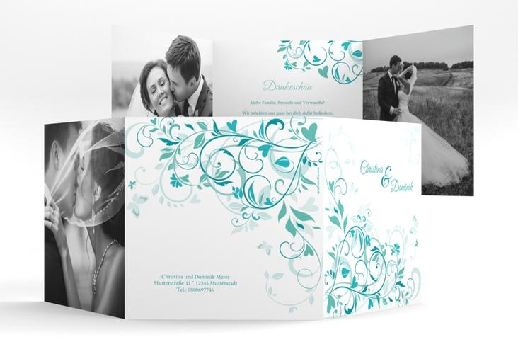 """Dankeskarte Hochzeit """"Lilly"""" Quadr. Karte doppelt tuerkis"""
