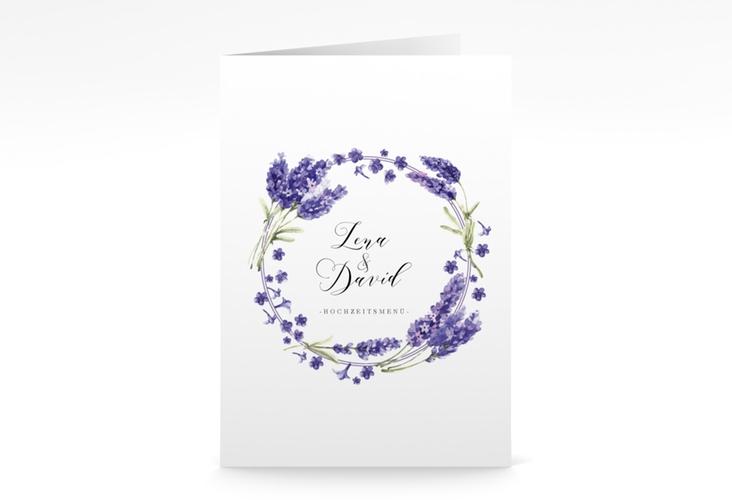 """Menükarte Hochzeit """"Lavendel"""" DIN A5 geklappt"""