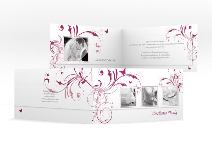 "Dankeskarte Hochzeit ""Palma"" DIN lang Klappkarte pink"
