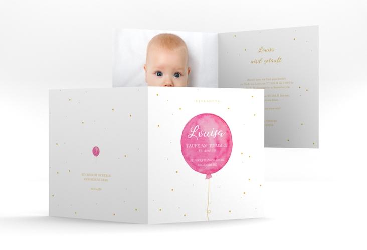 """Einladung Taufe """"Balloon"""" Quadratische Klappkarte pink"""