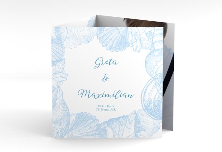 """Dankeskarte Hochzeit """"Muschelreich"""" Quadr. Karte doppelt blau"""