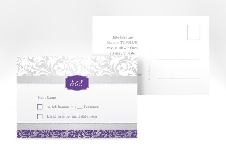 """Antwortkarte Hochzeit """"Latina"""" A6 Postkarte lila"""