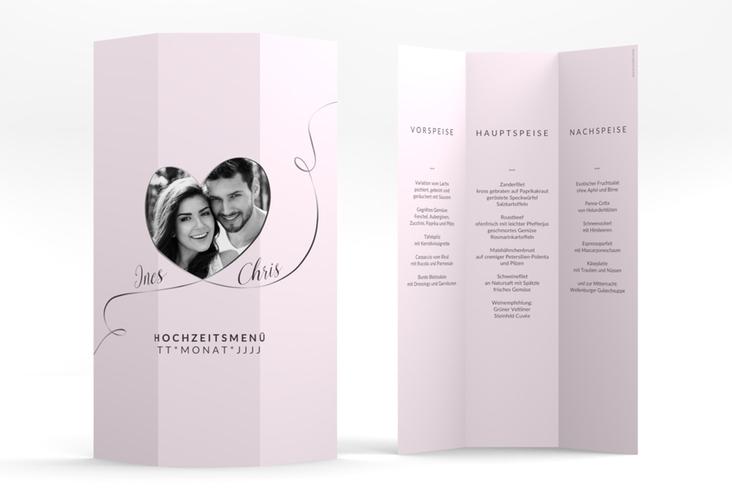 """Menükarte Hochzeit """"Dolce"""" DIN A4 Wickelfalz rosa"""