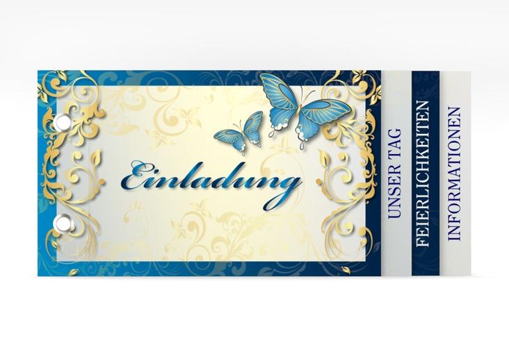 """Hochzeitseinladung """"Toulouse"""" Booklet blau"""