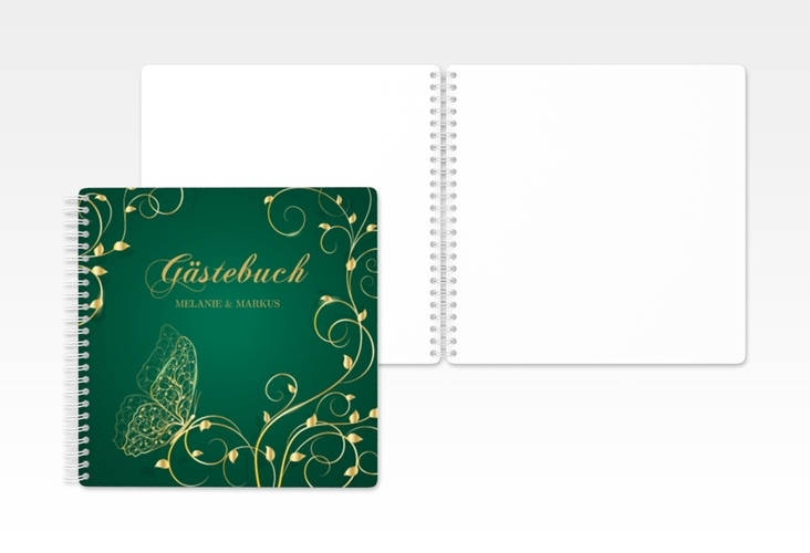 "Gästebuch Hochzeit ""Eternity"" Ringbindung gruen"