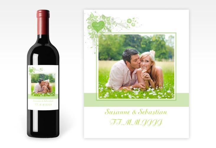 """Weinflaschenetikett Hochzeit """"Triest"""" Etikett Weinflasche 4er Set gruen"""