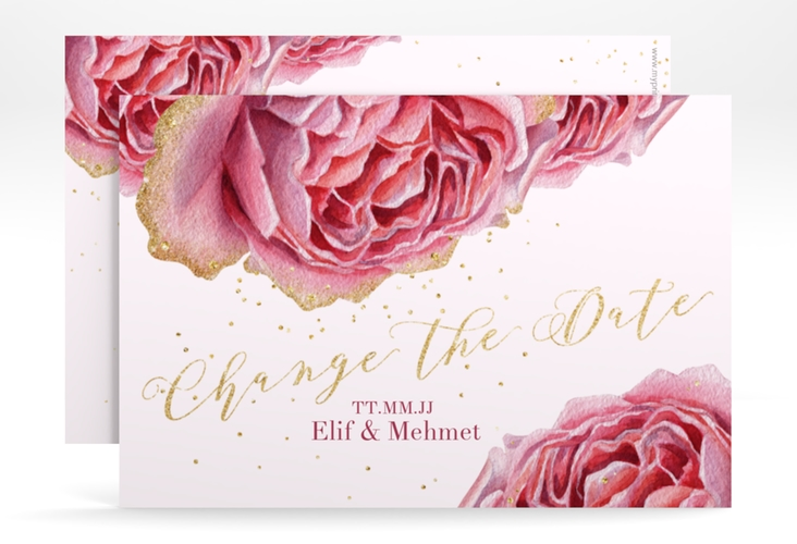 """Change the Date-Karte """"Cherie"""" A6 quer gold"""