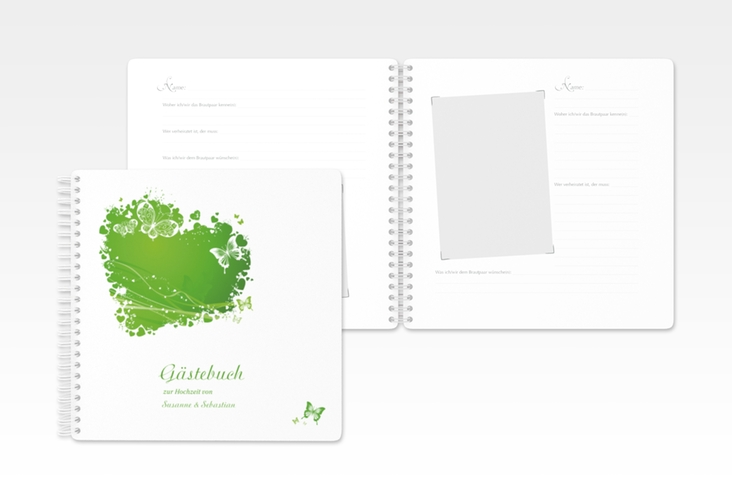 "Gästebuch Hochzeit ""Mailand"" Ringbindung gruen"