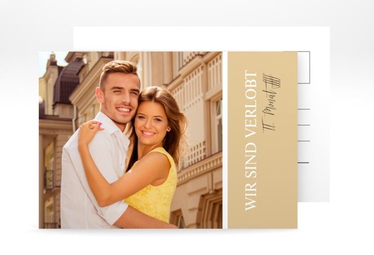 """Verlobungskarte """"Classic"""" A6 Postkarte beige"""