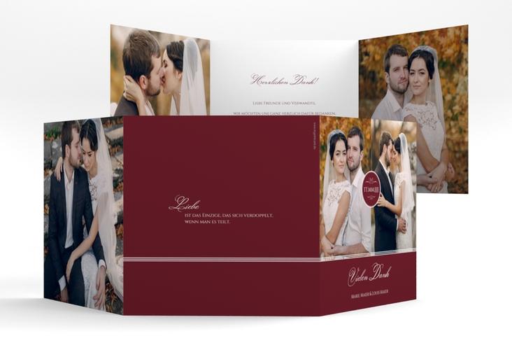 """Dankeskarte Hochzeit """"Elegancy"""" Quadr. Karte doppelt rot"""