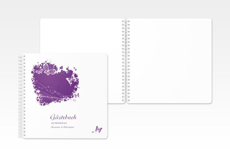 "Gästebuch Hochzeit ""Mailand"" Ringbindung lila"