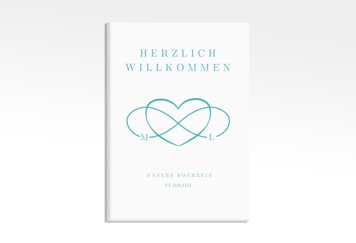 "Willkommensschild Leinwand ""Infinity"" 50 x 70 cm Leinwand tuerkis"