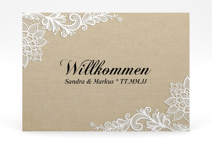 "Willkommensschild Poster ""Lace"" 70 x 50 cm Poster"