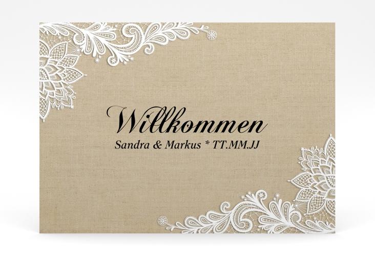 """Willkommensschild Poster """"Lace"""" 70 x 50 cm Poster beige"""