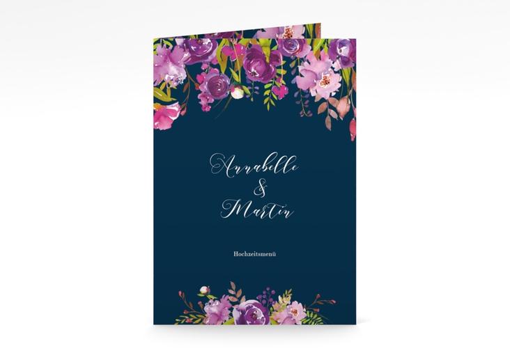 """Menükarte Hochzeit """"Violett"""" DIN A5 geklappt blau"""