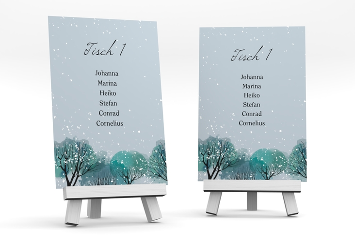 """Tischaufsteller Hochzeit """"Winterhochzeit"""" Tischaufsteller blau"""